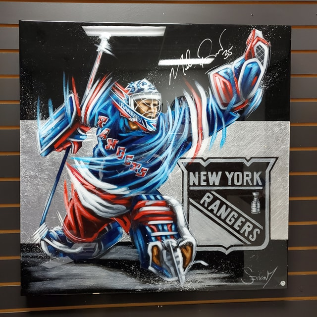 MIKE RICHTER SIGNED ART CANVAS PAINTING BY ARTIST ERIC SEVIGNY AUTOGRAPHED