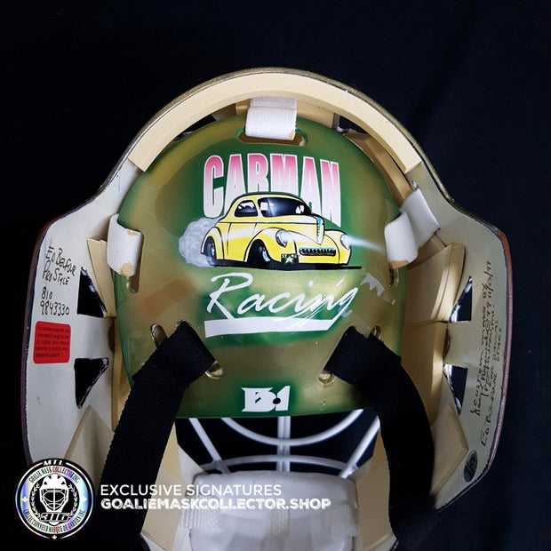 ED BELFOUR 1999 PRO GAME REPLICA GOALIE MASK GOLD DALLAS STARS SIGNED AUTOGRAPHED WARWICK SHELL PAINTED BY MISKA