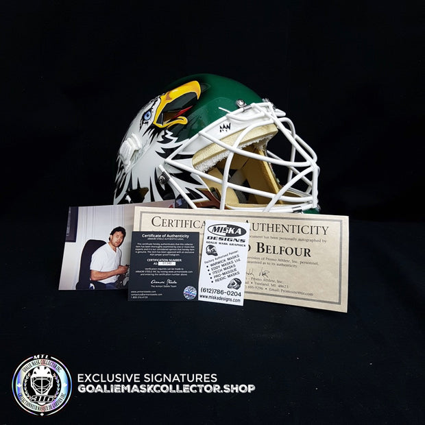 ED BELFOUR 1998 PRO GAME REPLICA GOALIE MASK GREEN DALLAS STARS SIGNED AUTOGRAPHED WARWICK SHELL PAINTED BY MISKA