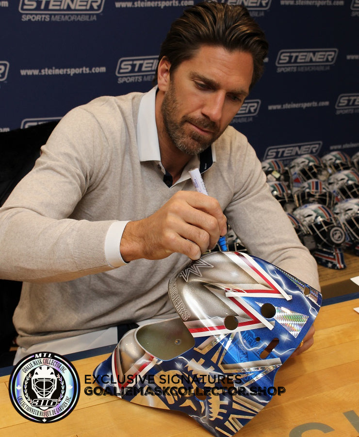 HENRIK LUNDQVIST SIGNED AUTOGRAPHED GOALIE MASK NEW YORK SILVER EDITION - 2018