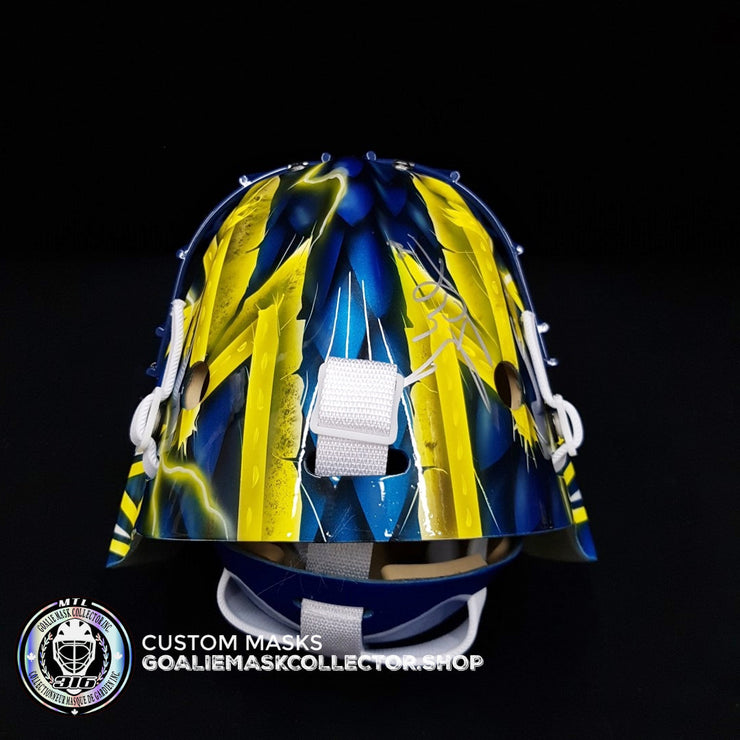 HENRIK LUNDQVIST SIGNED AUTOGRAPHED GOALIE MASK TEAM SWEDEN 2019 AS SWEDEN BLUE EDITION - STEINER SPORTS
