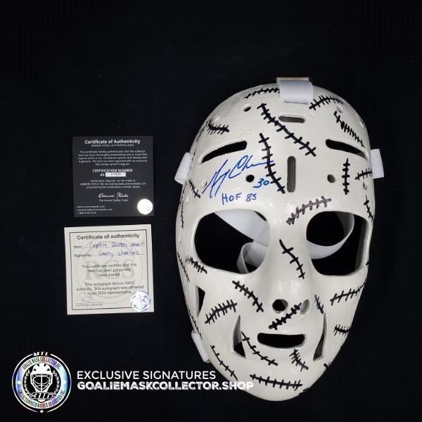 GERRY CHEEVERS SIGNED AUTOGRAPHED GOALIE MASK BOSTON TRIBUTE 70'S VINTAGE BY MARC POULIN (DISPLAY CASE INCLUDED)