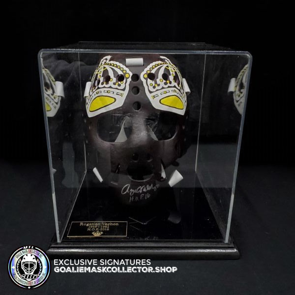 ROGATIEN VACHON SIGNED AUTOGRAPHED GOALIE MASK LOS ANGELES TRIBUTE 70'S VINTAGE BY MARC POULIN (Display Case Included)