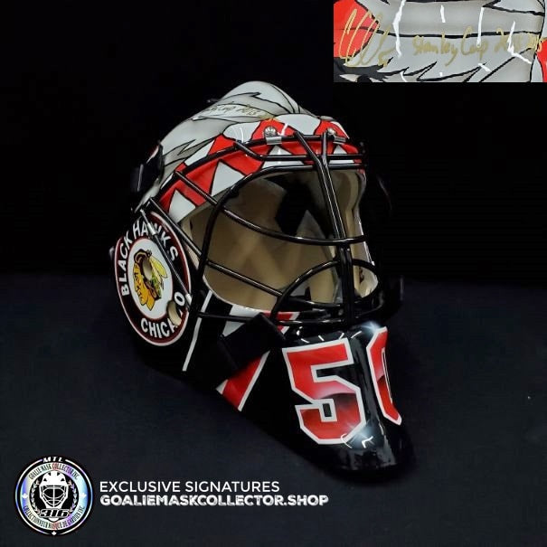 COREY CRAWFORD SIGNED AUTOGRAPHED GOALIE MASK BLACK CHICAGO TRIBUTE AS Edition