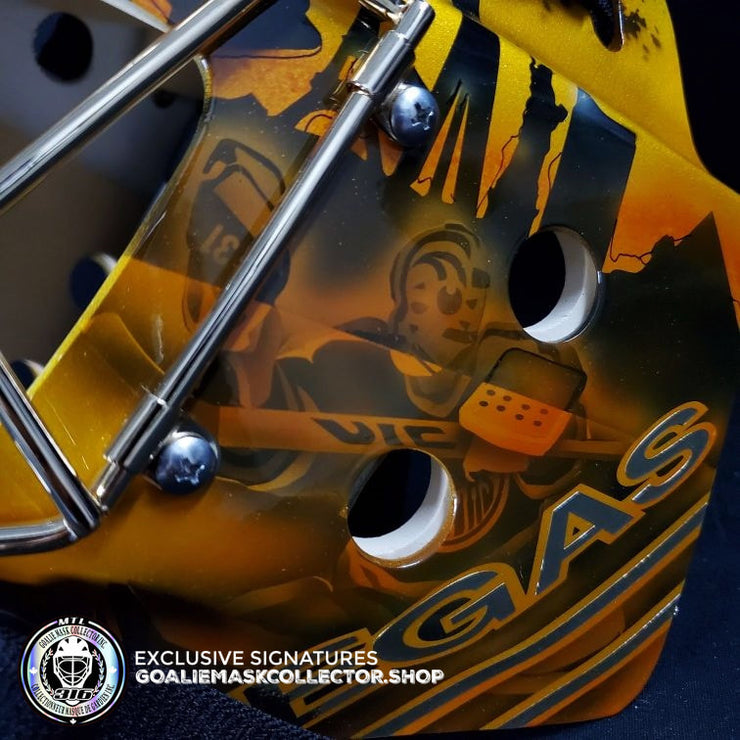 "GRANT FUHR SIGNED AUTOGRAPHED GOALIE MASK LAS VEGAS AS EDITION  ""Making Coco"" Las Vegas Premiere"