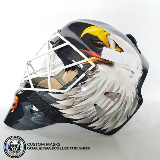 ED BELFOUR UN-SIGNED GOALIE MASK - BLACK EDITION - CHICAGO & FLORIDA