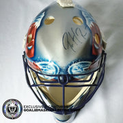 PATRICK ROY SIGNED AUTOGRAPHED GOALIE MASK COLORADO AVALANCHE PAINTED BY GUY LAFRANCE - ORIGINAL ROY MASK PAINTER LEFEBVRE SHELL