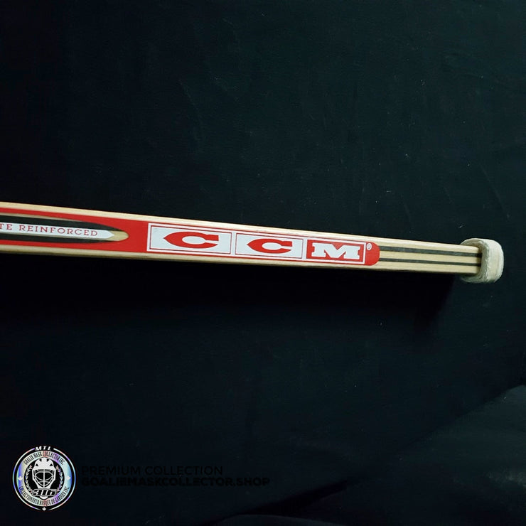 "MARTIN BRODEUR GAME USED SIGNED AUTOGRAPHED STICK CCM HEATON 8 PLAYOFFS 2001 STANLEY CUP FINALS VS COLORADO AVALANCHE - ""COL 1""  KNOB INSCRIPTION"