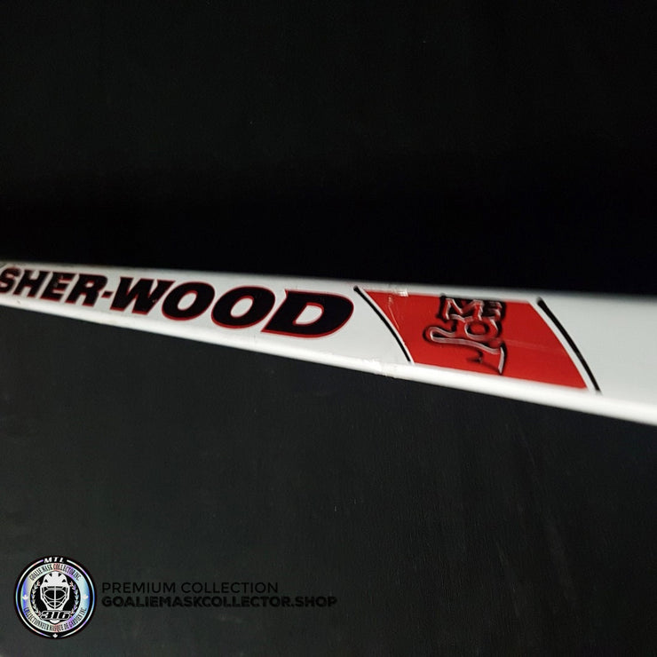 "MARTIN BRODEUR GAME USED STICK SIGNED AUTOGRAPHED SHERWOOD MB30 PLAYOFFS 2012 CONFERENCE FINALS VS NY RANGERS - ""NYR 3""  KNOB INSCRIPTION"