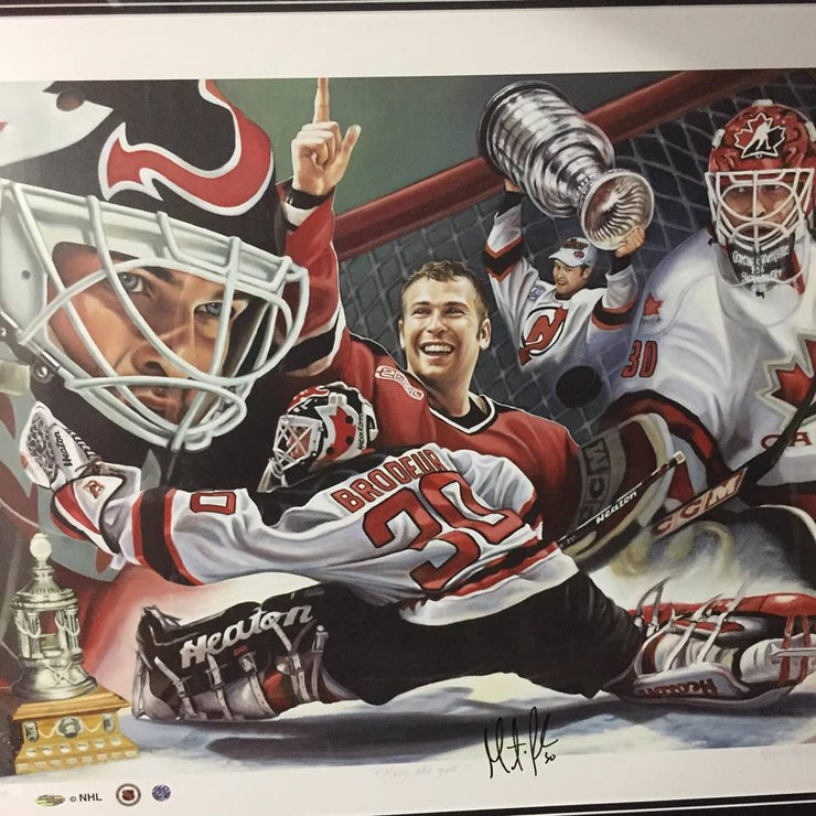 Martin Brodeur SIGNED Sports Art Canvas by Diane Berube