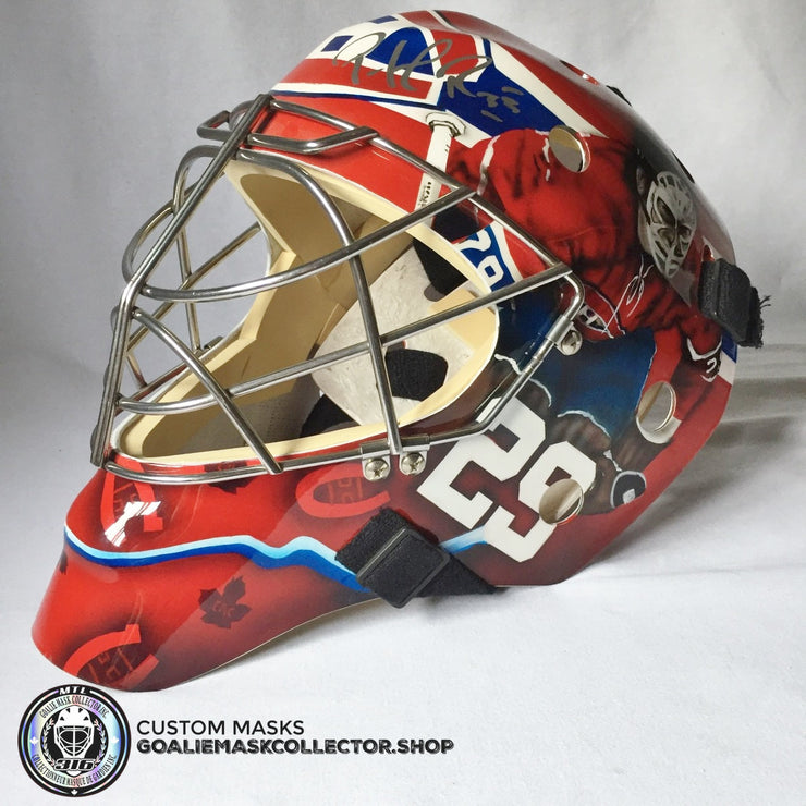 "PATRICK ROY SIGNED ""CANADIENS GREATEST GOALIES"" 1/1 TRIBUTE GOALIE MASK"