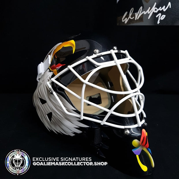 ED BELFOUR SIGNED AUTOGRAPHED GOALIE MASK AS BLACK EDITION CHICAGO