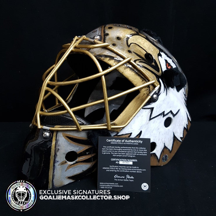 ED BELFOUR SIGNED AUTOGRAPHED GOALIE MASK CUSTOM GOLD 1/1 EDDY SHELL AS EDITION