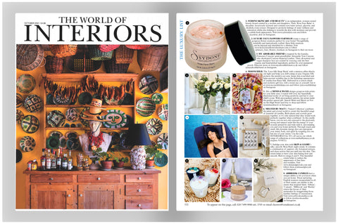 The October issue of The World of Interiors Magazine. Cover image next to the page with the Sydoni Rose Face Balm as a feature