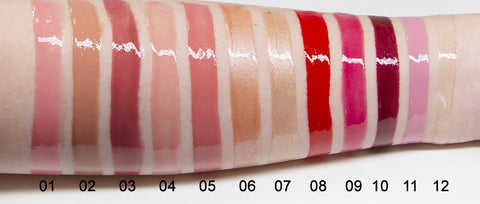 Lustre Lip Gloss Color Swatches