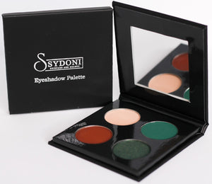 """MYSTIC"" EYESHADOW PALETTE EMERALD GREEN WITH SOFT BEIGE AND DEEP RED BROWN"