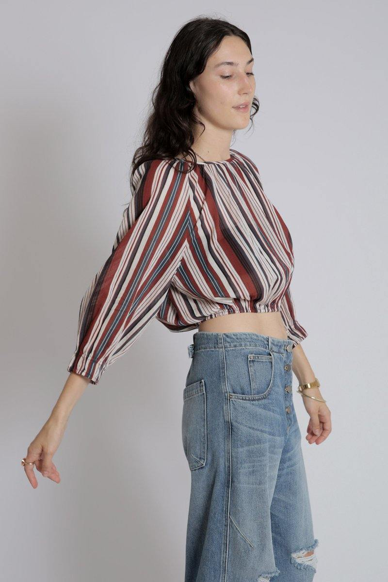 Kiran Shirred Stripe Top