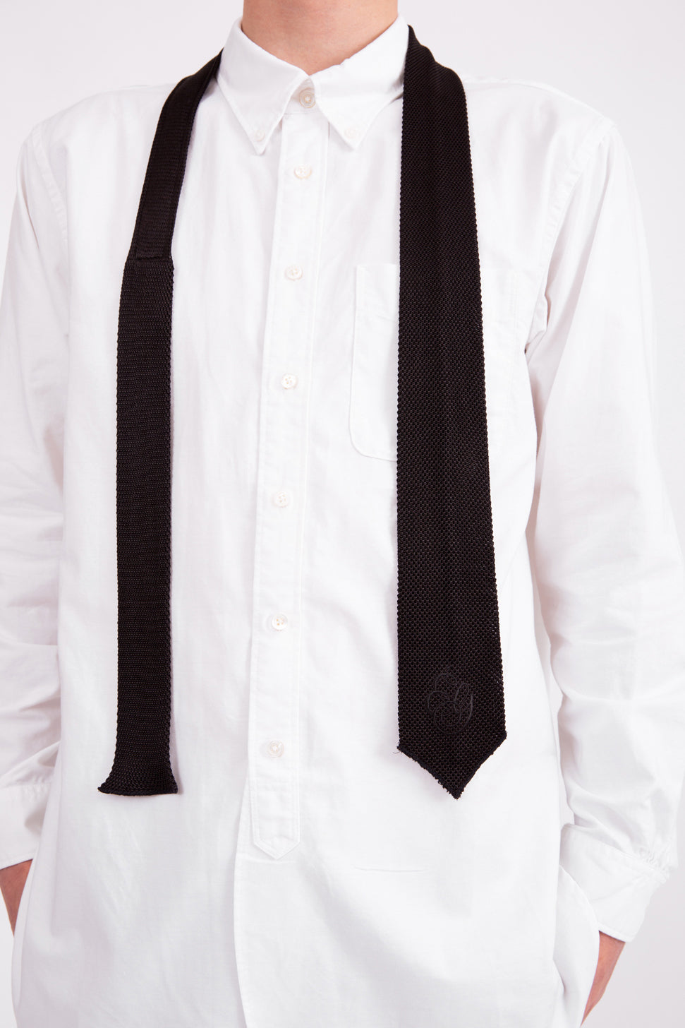 Knitted Black Silk Tie