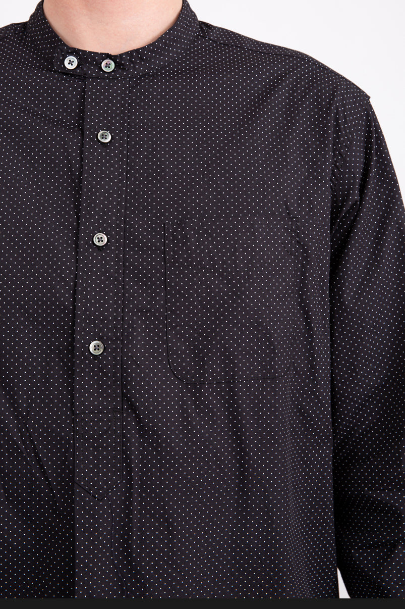 Banded Collar Long Polka Shirt