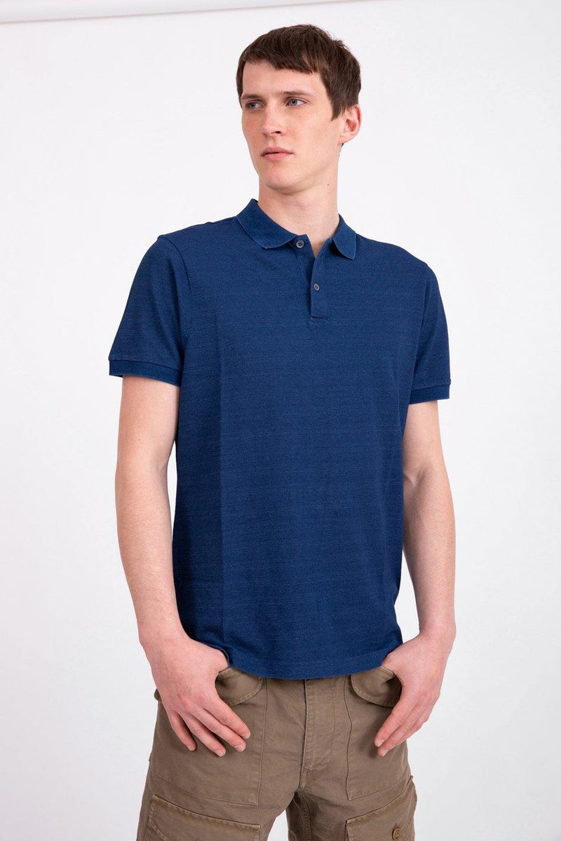 Cotton Piqué Indigo Polo Shirt