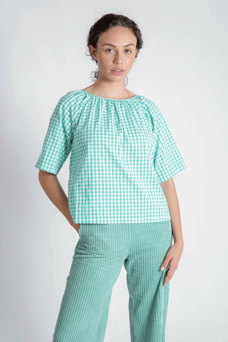Stuart Green Check Blouse