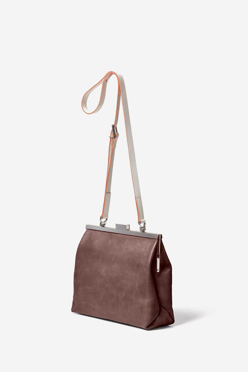 Maxine Frame Leather Crossbody Bag