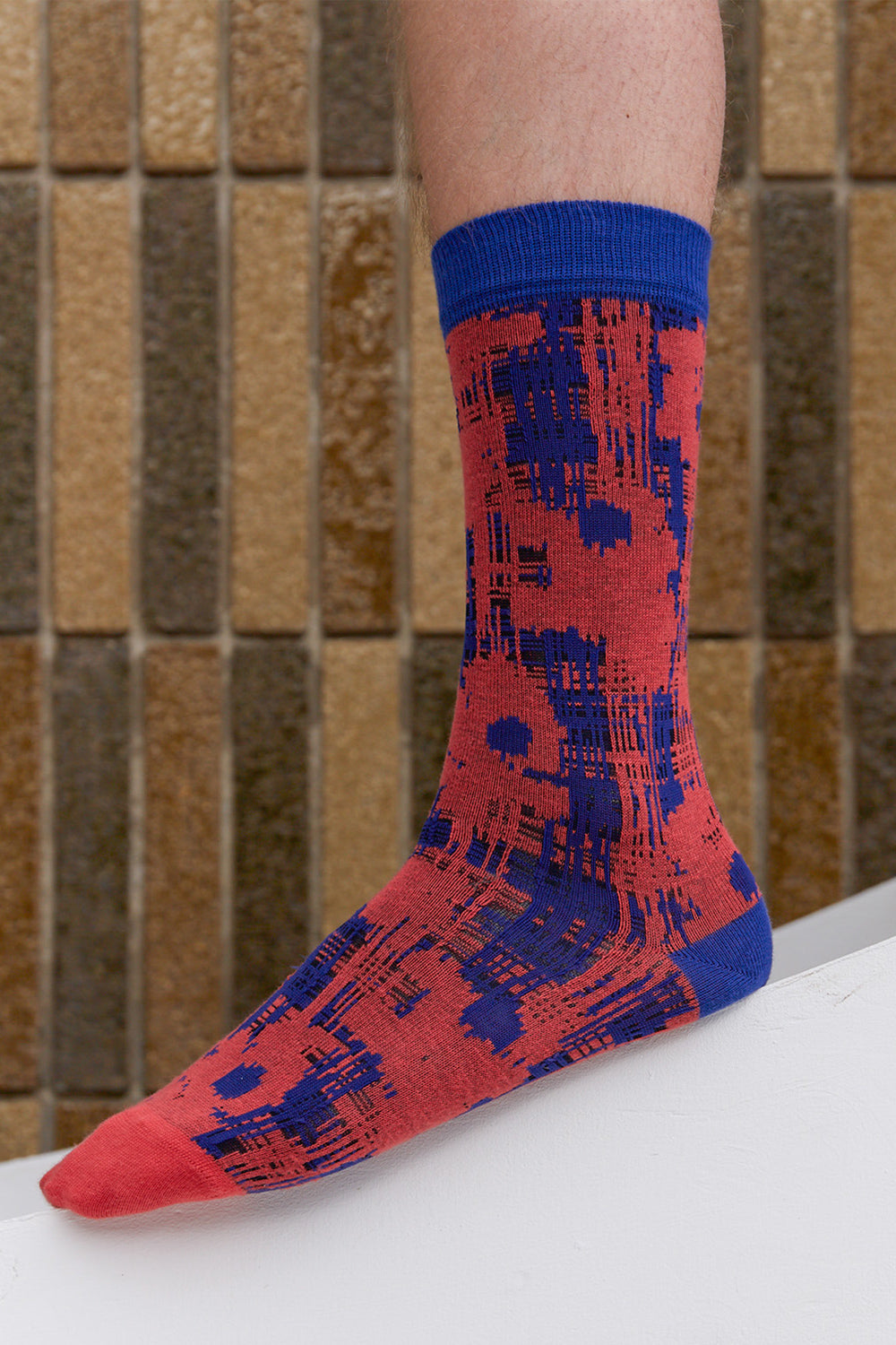 Flower Check Socks Orange Blue