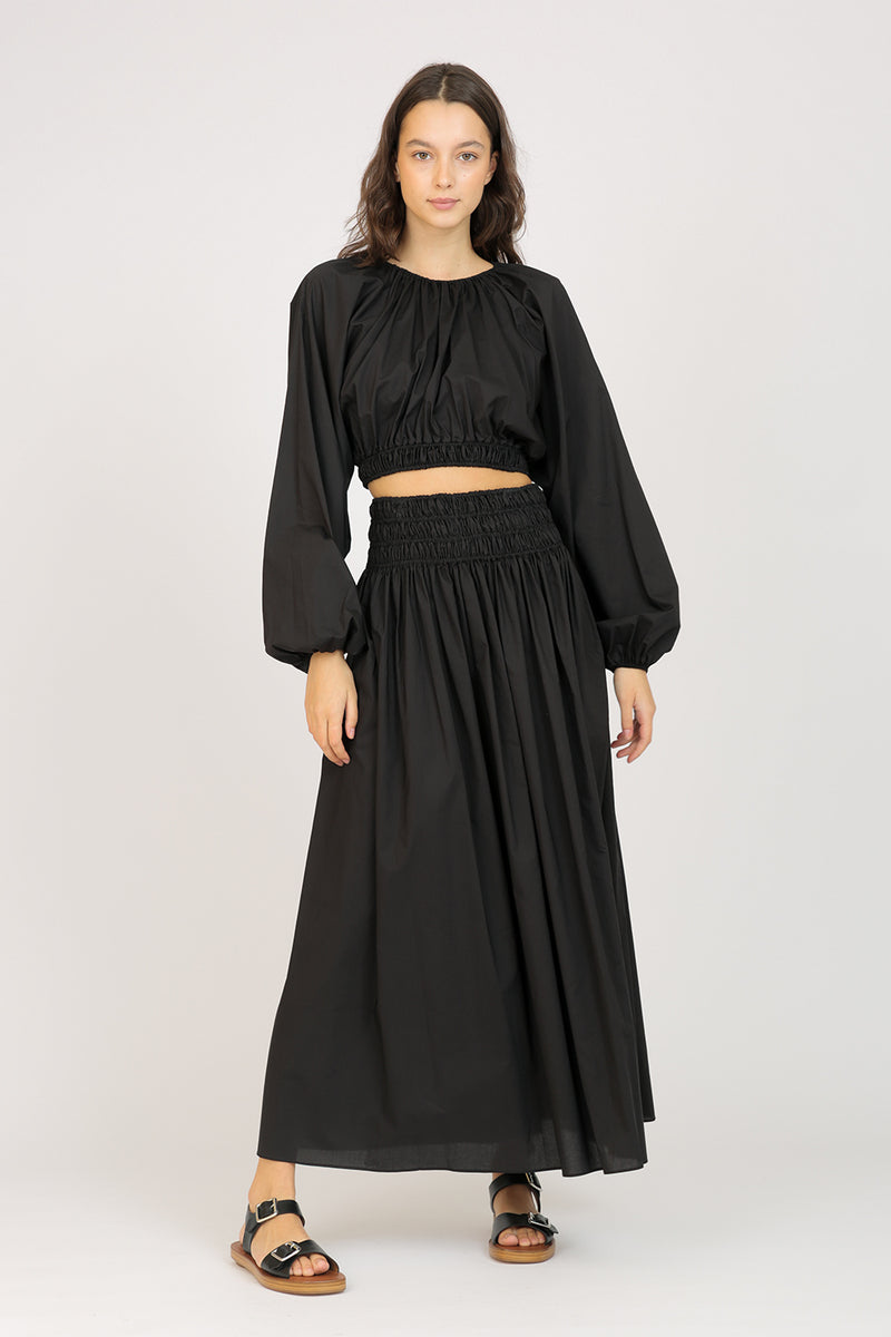 Shirred Skirt Black