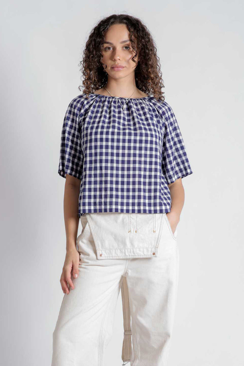 Stuart Navy Check Blouse
