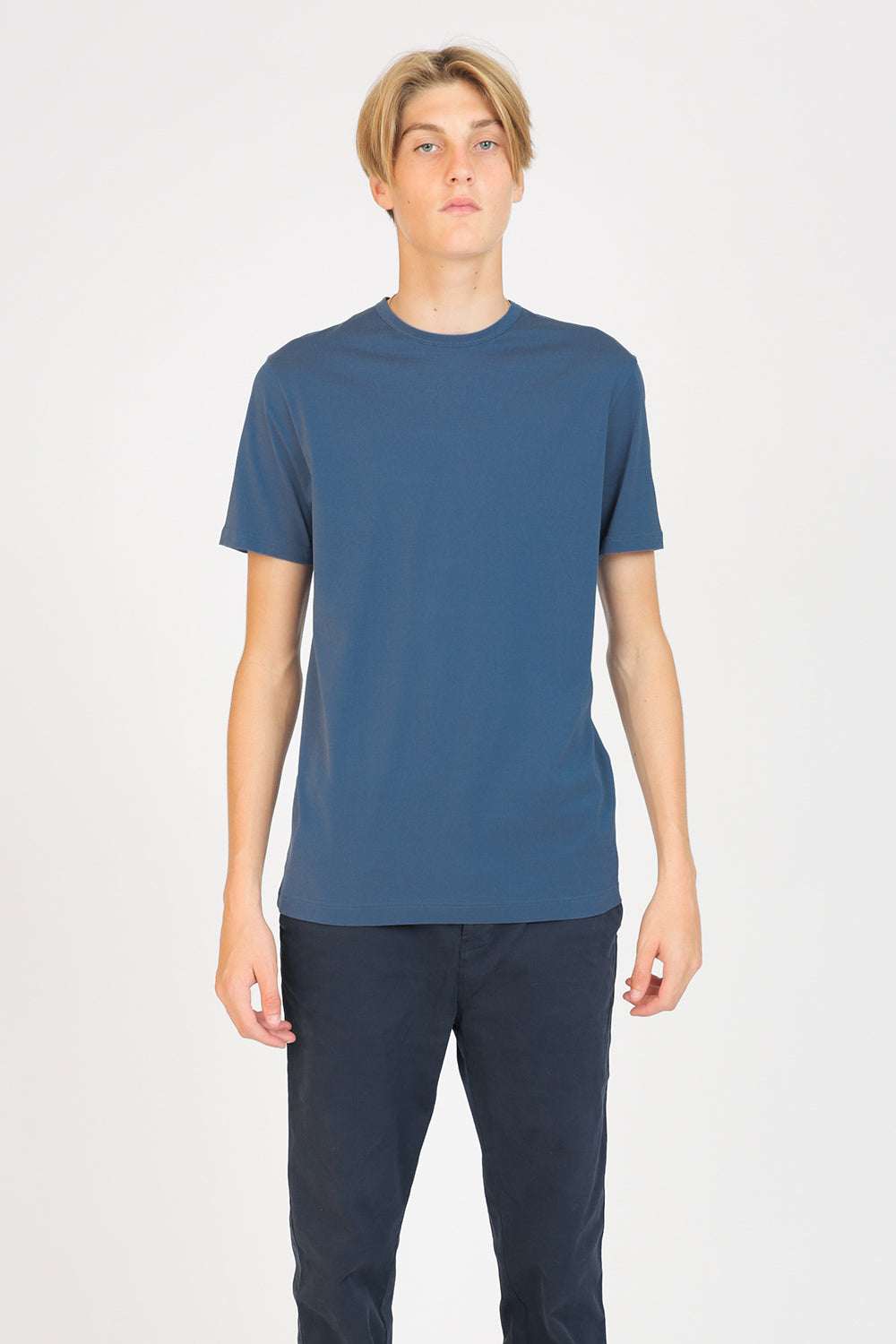 Classic Cotton Smoke Blue T-Shirt