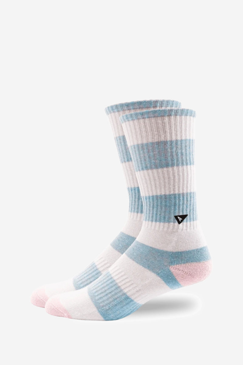 Tall Crew Rugy Blue Stripe Sock
