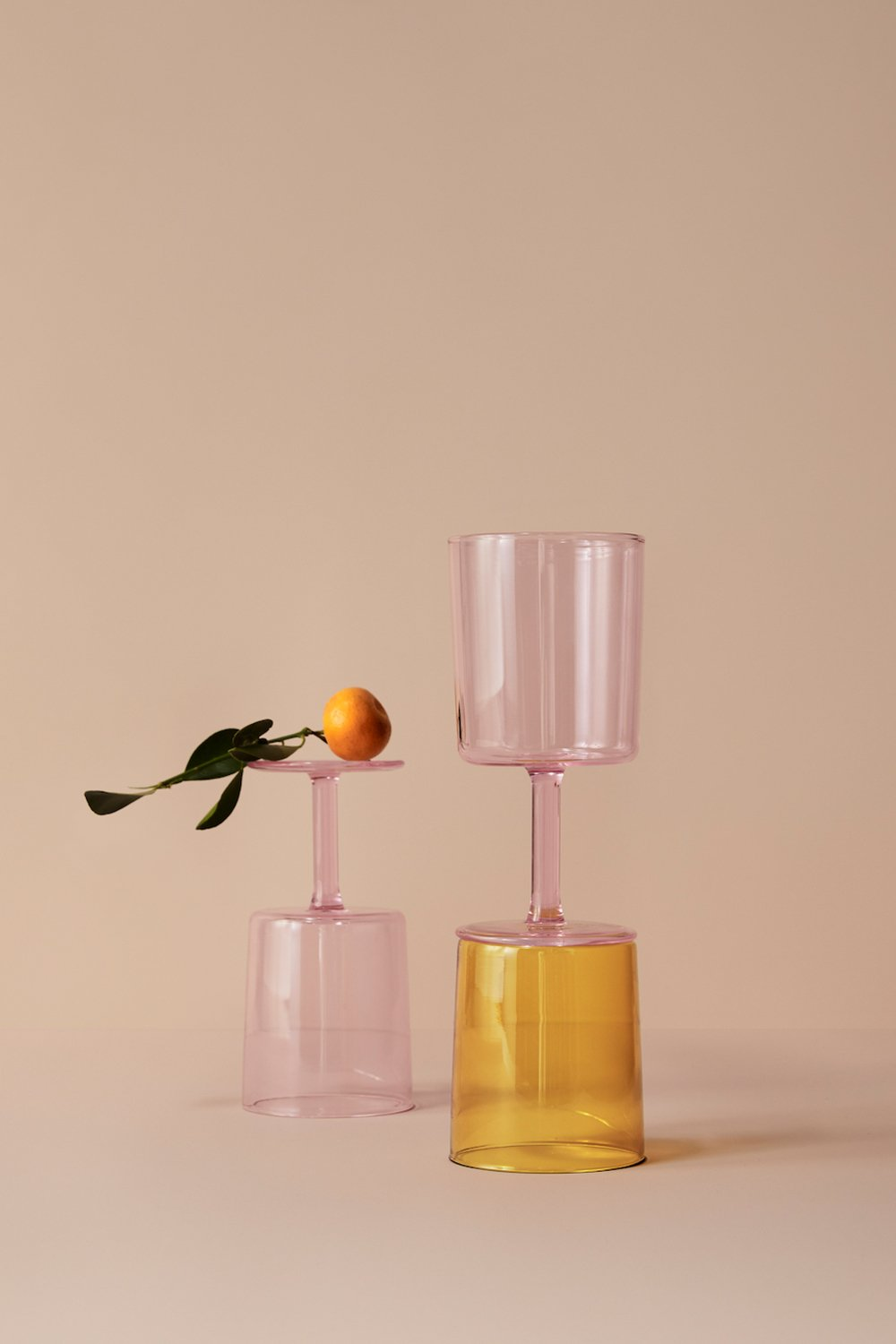 Set of 2 Pink Wine Glasses
