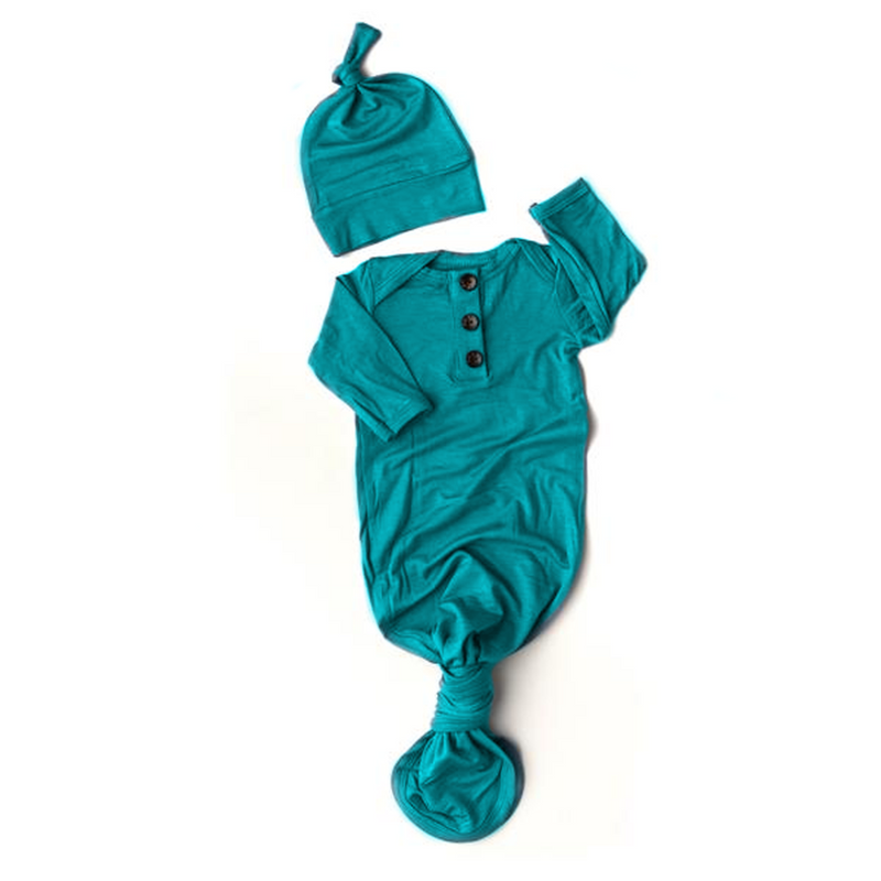 Jude Teal Knotted Button Newborn Gown and Hat