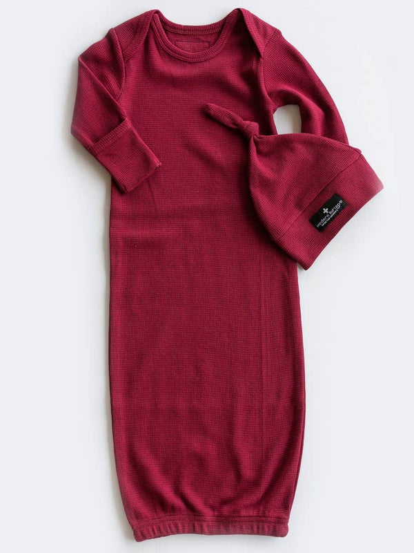 Organic Thermal Knot Hat + Gown Set - Maroon