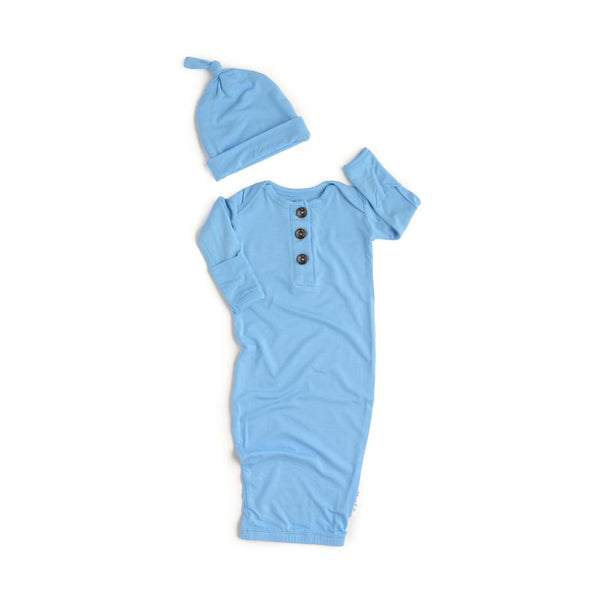 Baby Blue Knotted Button Newborn Gown and Hat