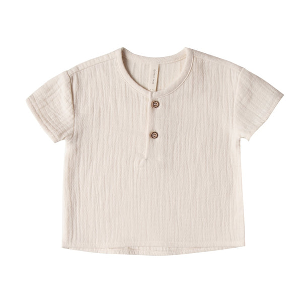 Organic Cotton Woven Henry Top in Pebble