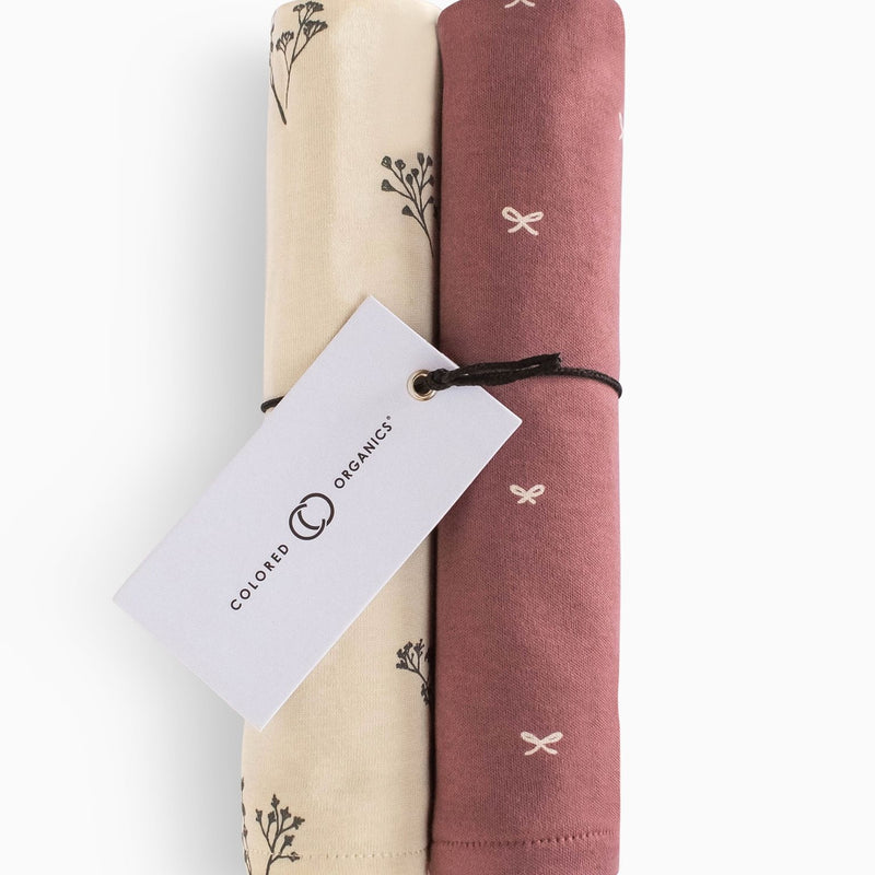 Organic Cotton Burp Cloths (2-Pack), Sprig and Bows
