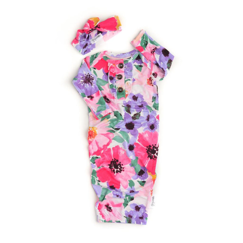 Emilia Floral Button Newborn Gown and Headband