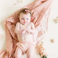 Polka Dot Swaddle, Blush Pink