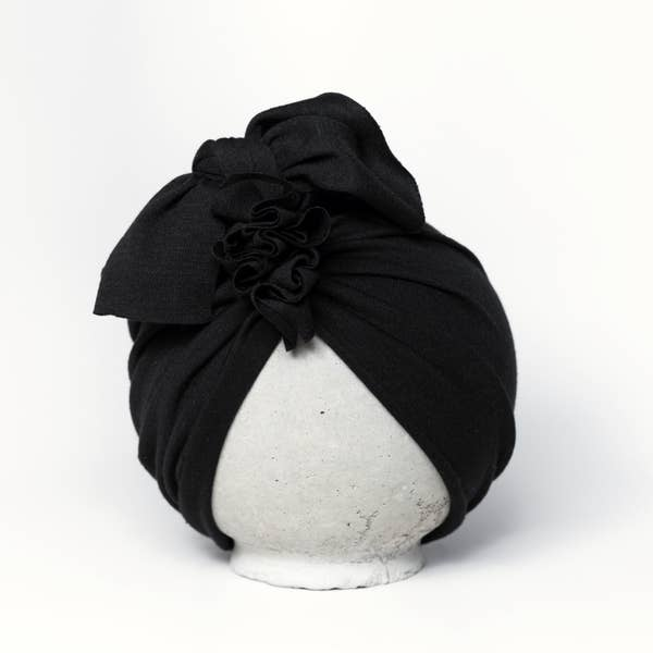 Vintage Head Wrap Hat - Black