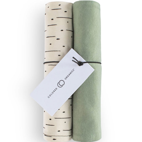 Organic Cotton Burp Cloths (2-Pack), Thyme & Natural