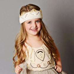 Hand-Knit Sparkle Crown, Cream with Gold