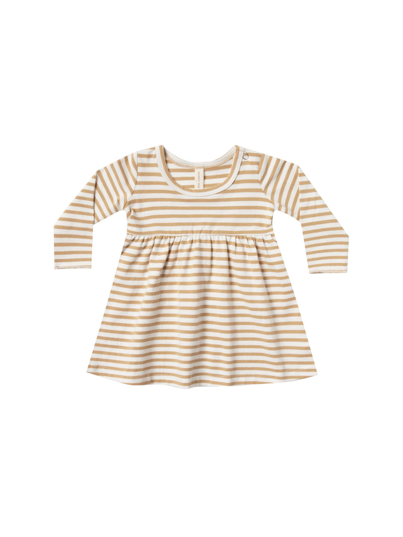 Baby Dress Organic Brushed Jersey - Honey Stripe
