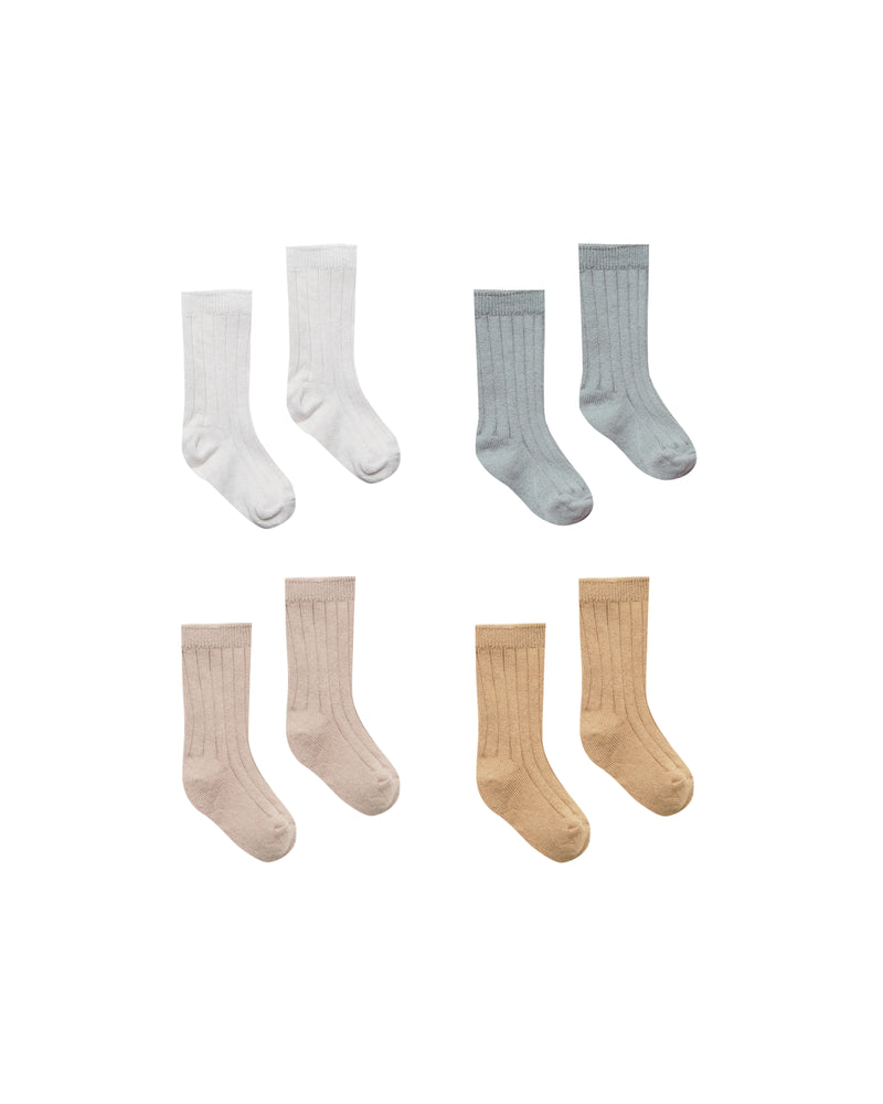 Baby Socks - 4 Pack - Ivory, Dusty Blue, Rose, Honey
