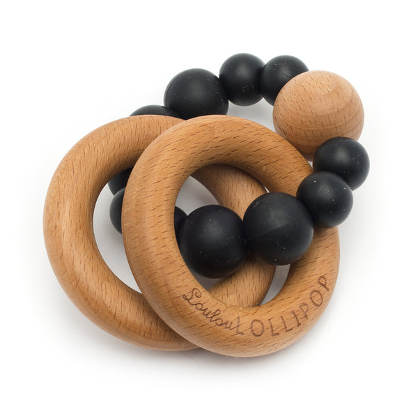 Bubble Silicone and Wood Teether, Black