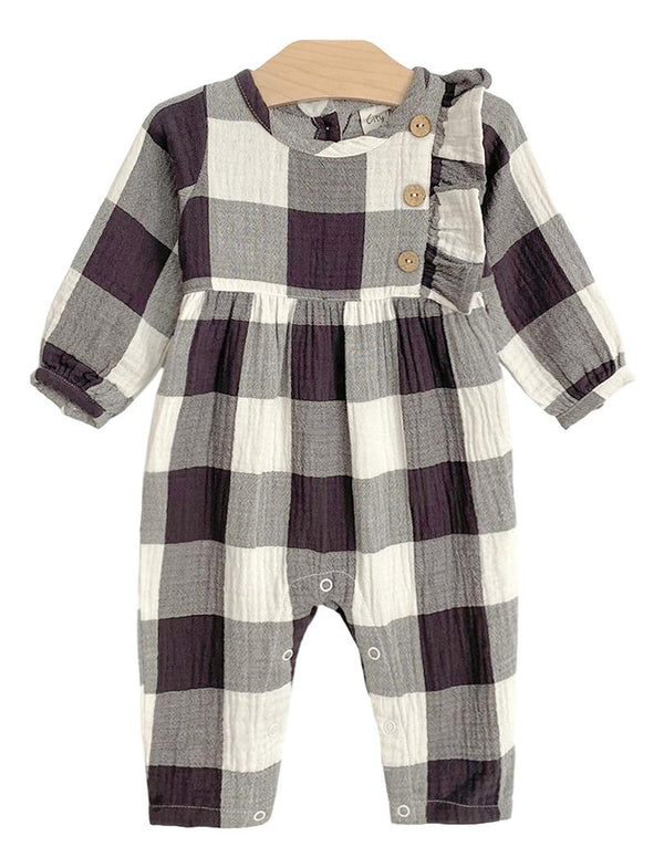 City Mouse Button Romper, Buffalo Check