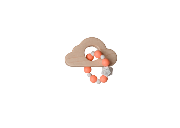 Wood Cloud and Silicone Bead Teether - Coral