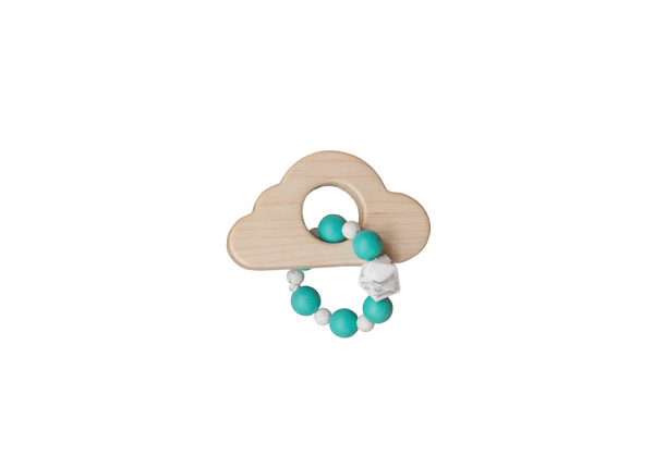 Wood Cloud and Silicone Bead Teether - Turquoise