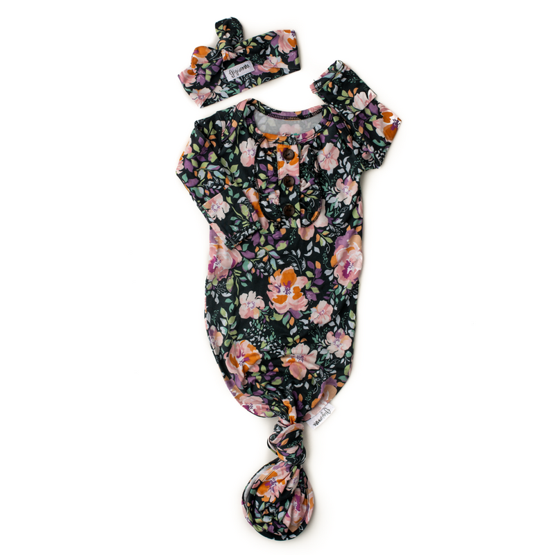 Willow Floral Knotted Button Newborn Gown and Headband