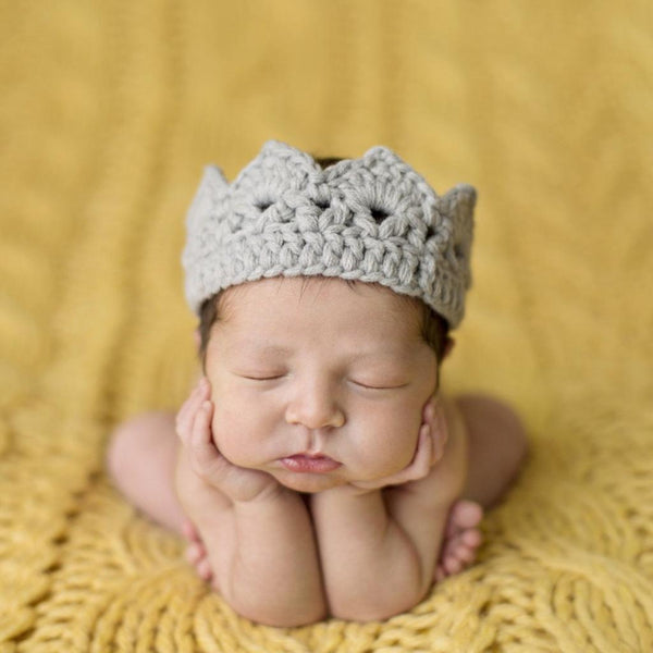 Newborn Hand-Crochet Crown, Pink